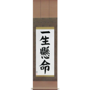 Japanese Scroll of Do One's Very Best (isshoukenmei) in a block font (vb5a) by Master Japanese Calligrapher Eri Takase